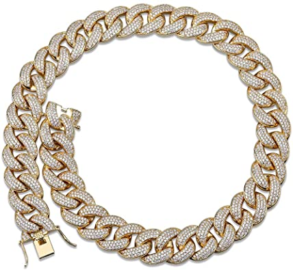 Details about  /Fashion Cuba Chain Full Diamond Chain Necklace Street Hip-hop Jewelry Width 15mm