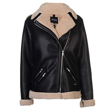 Firetrap Womens Blackseal Jacket Leather PU Coat Top Zip Full Black 14 (L)   Amazon.co.uk  Clothing 3794c7088