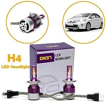 2 x dicn H4 LED faro Kit de conversión bombilla de repuesto 6000 K 72 W