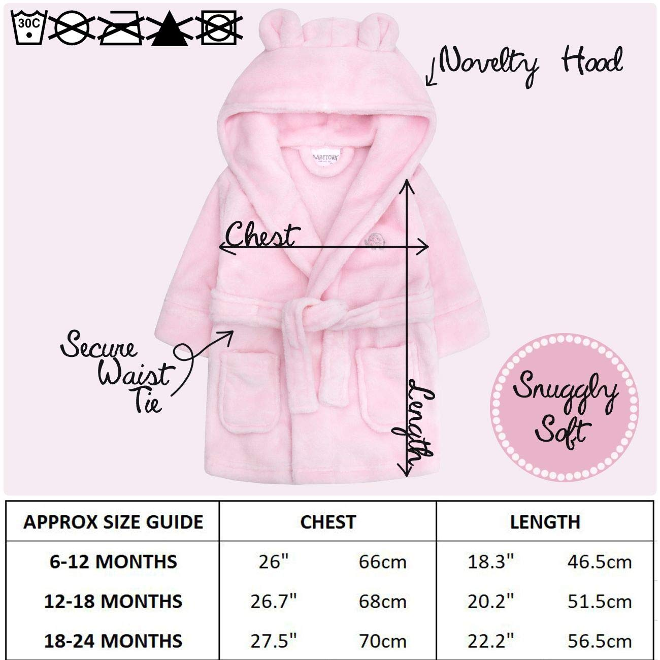 Baby Boys /& Girls Unisex Dressing Gown Ages 6-24 Months Soft Plush Flannel Fleece Hooded Bath Robe BabyTown