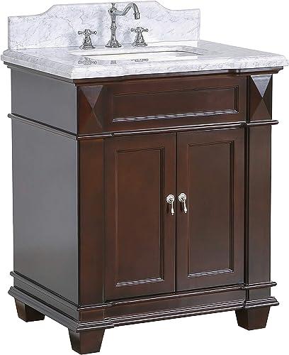 Elizabeth 30-inch Bathroom Vanity Carrara/Chocolate : Includes Chocolate Cabinet