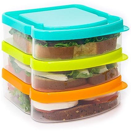 Amazon.com: Sandwich Contenedor – 3 unidades de caja de ...