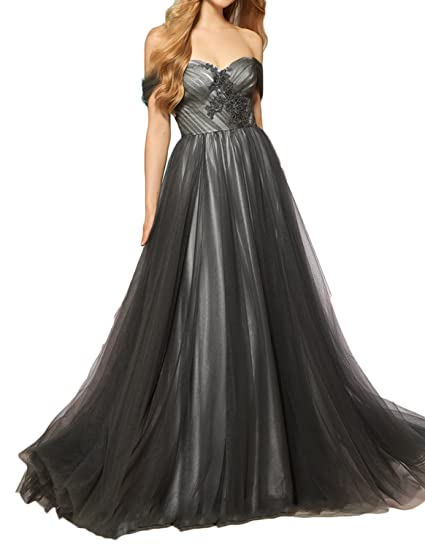 ebe2b79456f Udresses Womens 2018 Elegant A-Line Prom Dress Long Tulle Bead Formal Gown  PO43 at Amazon Women s Clothing store