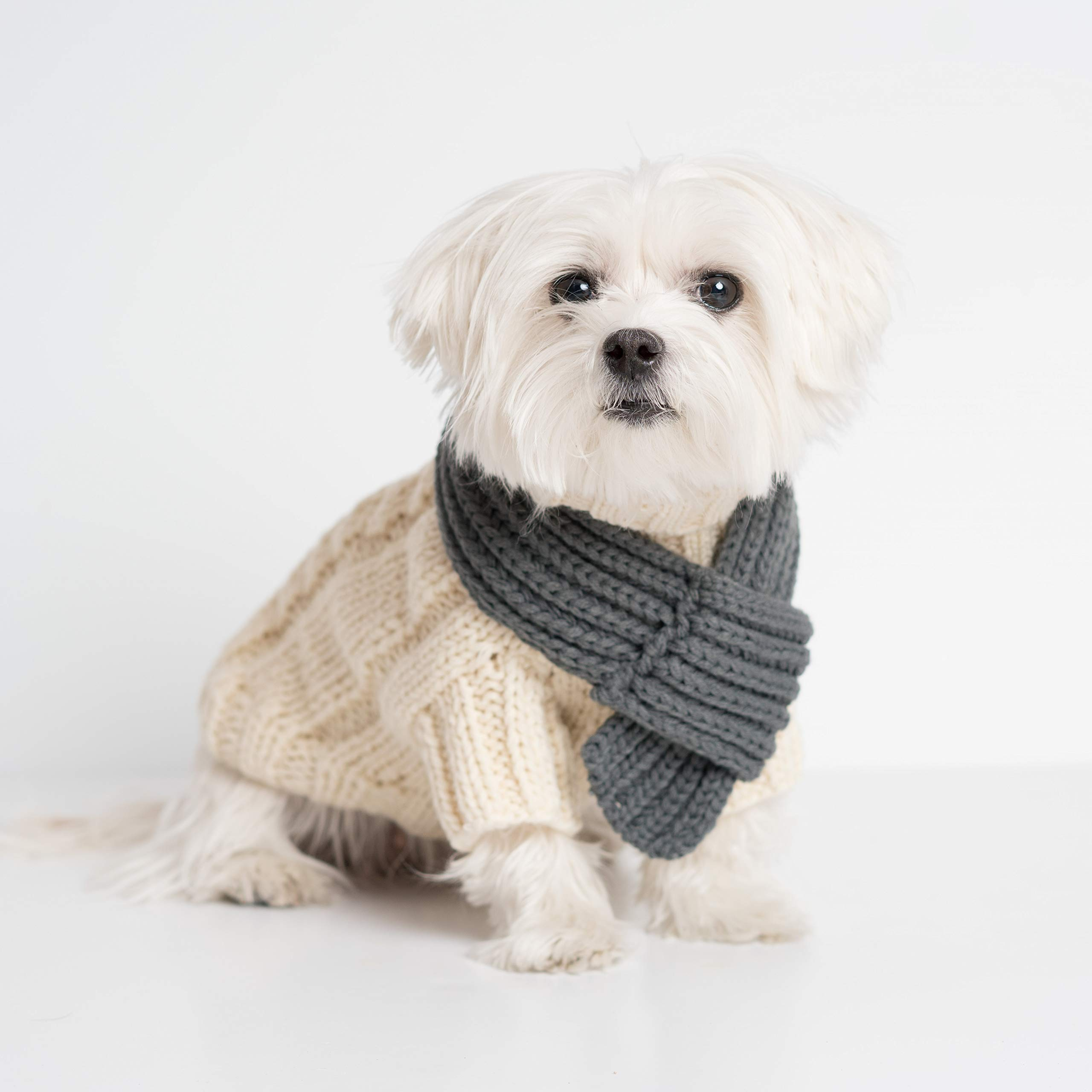 Cable Sweater with Scarf (Modern Pups Ivory, Small) by United Pups