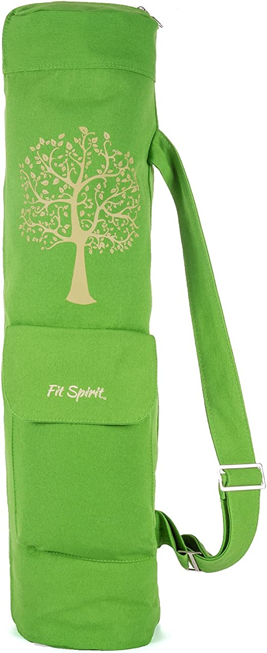 FIT SPIRIT Exercise Yoga Mat Gym Bag with 2 Cargo Pockets