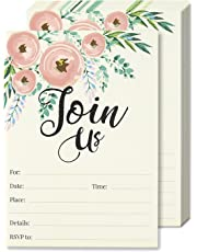 Juvale Postcard Style Invitation Cards (50-Pack) - Join Us - Rustic Chic Watercolour Design - Postcard Style, Envelopes Included - 13 x 18 cm