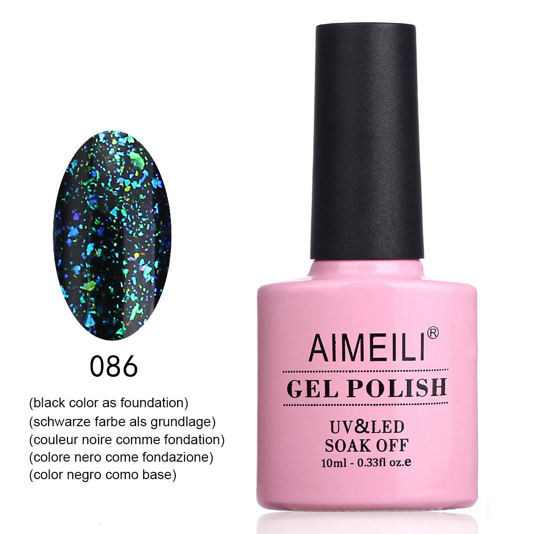 AIMEILI Soak Off UV LED Galaxy Paranoid Range Paillettes Claires Vernis à Ongles Gel Semi-Permanent Vert Gel Polish - Jupiter's Love Letter (086) 10ml