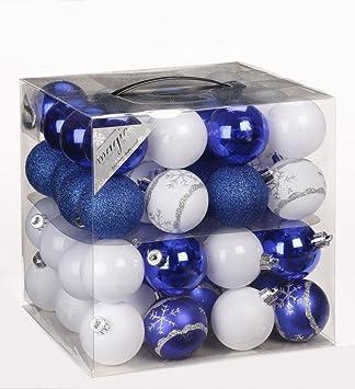 Schwarz Weiße Christbaumkugeln.64x Kunststoff Christbaumkugeln ø 6cm Kugel Box Glanz Glitzer Matt Dekor Inge Farbe Blau Weiß
