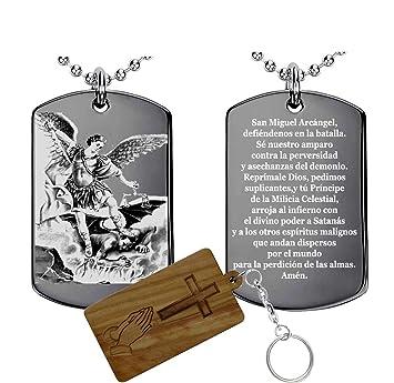 Set Collar con Colgante Oración al San Miguel Arcángel + Llavero de Madera Santa