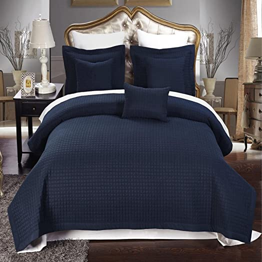 6 Piece King Size, Navy Blue Color, Super Luxurious Wrinke Free Reversible Checkered Coverlet Quilt Bedding Ensemble Set with Decorative Pillows