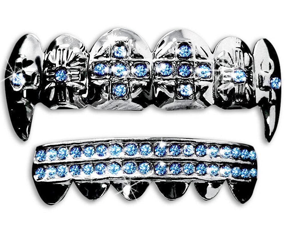 Silver Hip Hop Cross Vampire Fangs Top & Bottom Grillz Set (Blue Stones) Big Dawgs Grillz 2156