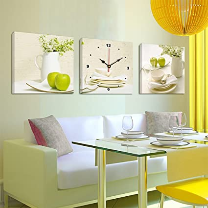 TIANTA Creative Art Painting Wall Clock Horizontal Version Of The Triple Hanging Frameless Paintings For
