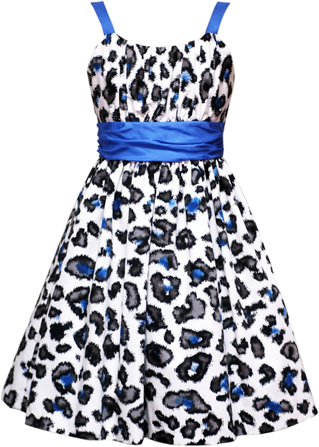 Amazon Com Rare Editions Size 10 Rre 51982e Blue Ivory Black Leopard Print Special Occasion Wedding Flower Girl Party Dress Jacket Set E451982 Tween Girls Clothing