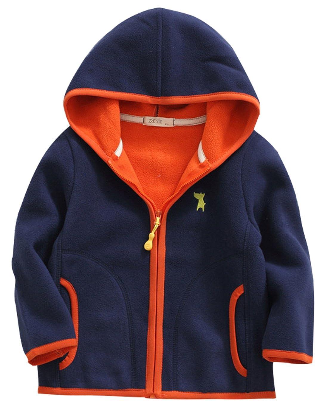 Happy Cherry Girls Fleece Jacket Hooded Zipper Up Outwear Long Sleeve Coat 2-8T