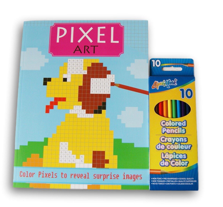 Pixel Art Surprise Images Coloring Book and Pre-Sharpened Colored Pencil Bundle Designer Series