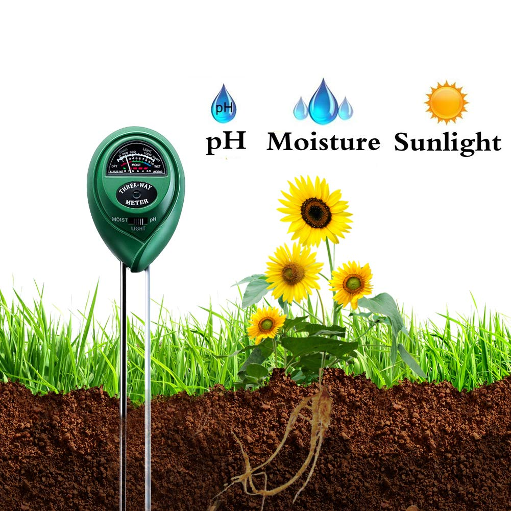 Bajotien 3 in 1 Soil Meter Plant Meter with PH, Light and Moisture, Soil Tester Kit for Garden, Farm, Lawn, Indoor and Outdoor