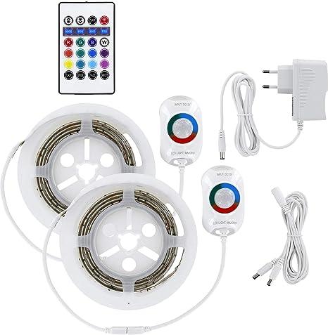 RGB Bettlicht - Tira de luz para cama (2 unidades, 230 V, con