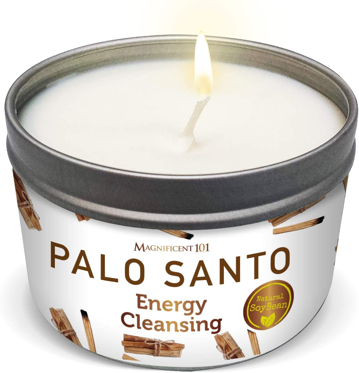 PALO Santo Smudge Candle for Home Energy Cleansing, Banishes Negative Energy - Natural Soybean Wax Tin Candle for Purification and Chakra Healing