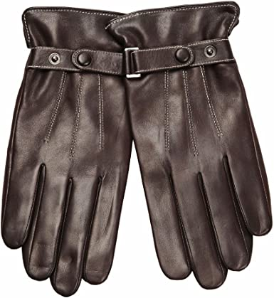 XL, Brown Short fleece WARMEN Classic Men Soft Nappa Leather Motorcyle Driving Police Gloves
