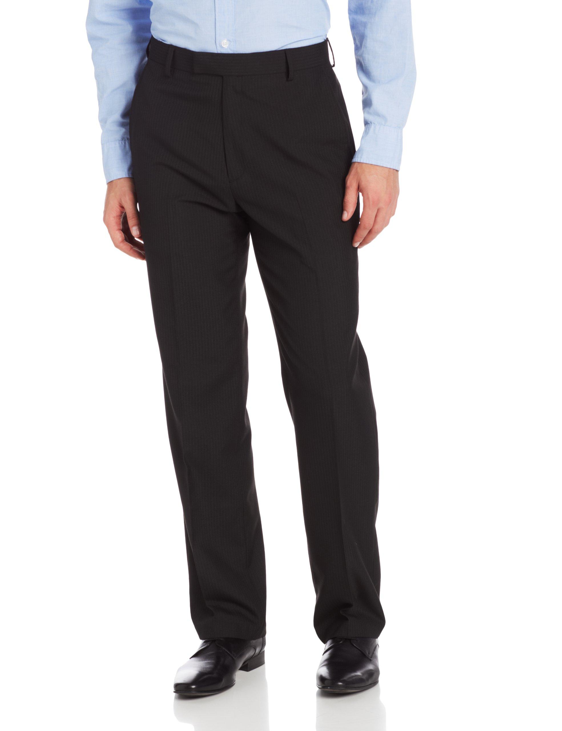 Haggar Men's Stripe Tailored Fit Plain Front Suit Separate Pant, Black, 32Wx29L by Haggar