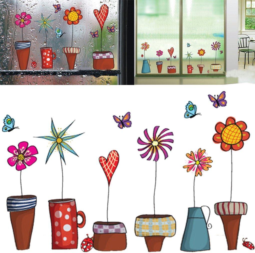 Bomcomi La Flor de Mariposa de Dibujos Animados Pegatinas Etiqueta de la Ventana de Cristal decoración de la Pared