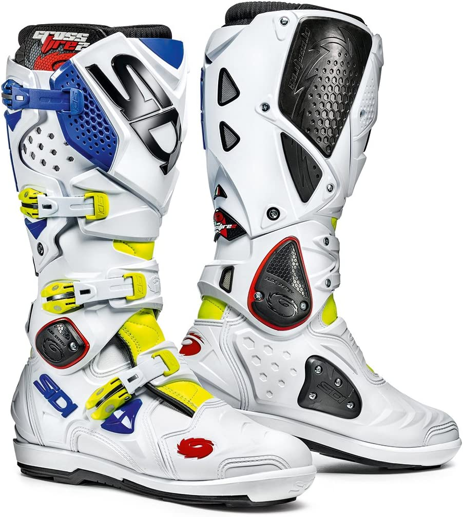 Sidi Crossfire 2 SRS Offroad Boots Yellow White Blue US 11
