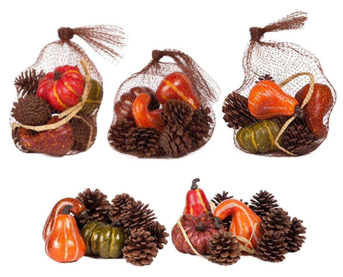 silk flower arrangements family holiday artificial autumn gourds, pumpkins and pine cones fall harvest decorating kit