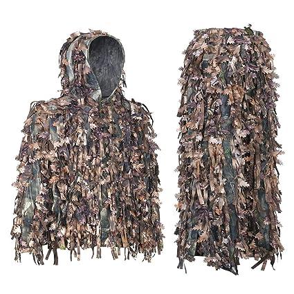 8ad9511f77862 Amazon.com : Auscamotek Leafy Suit 3D Hybrid Ghillie Suits for ...