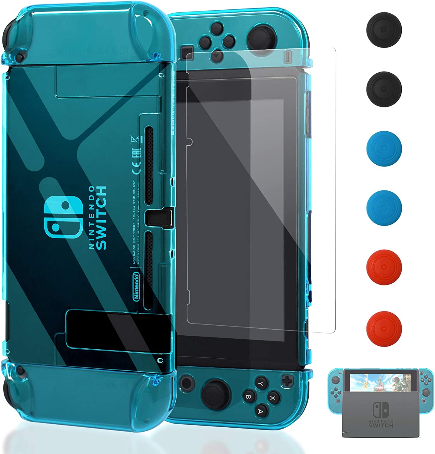 Dockable Case for Nintendo Switch [Updated],FYOUNG Protective Accessories Cover Case for Nintendo Switch and Nintendo Switch Joy-Con Controller with a Tempered Glass Screen Protector - Clear Blue: Electronics