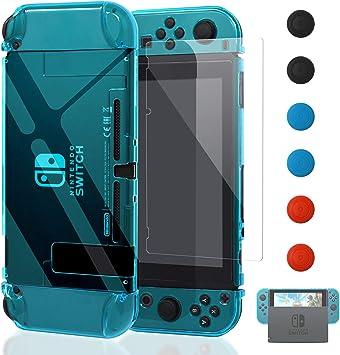 YUANHOT Funda para Nintendo Switch y Jon con con Protector de Pantalla de Cristal Templado, Azul Claro: Amazon.es: Electrónica