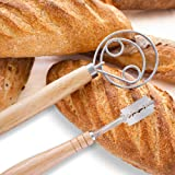 Edjettiby Danish Whisk Set Dutch Hook with Large Stainless Steel Ring 13.5 Inch Swedish Whisk for Pastry Sourdough Bread Pizz