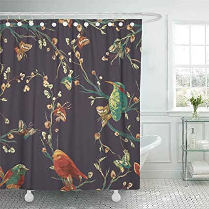 Ashleyallen Shower Curtains Orange Vintage Bird Butterfly And Flower Leaf Branch Imitation Of Embroidery Watercolor Separated