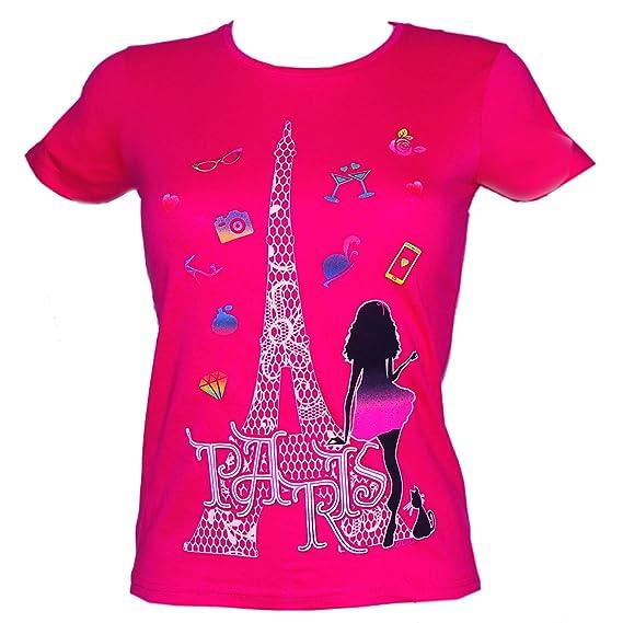 Souvenirs de France - T-Shirt Femme  Miss Paris  - Rose  Amazon.fr   Vêtements et accessoires c7e6301f550b