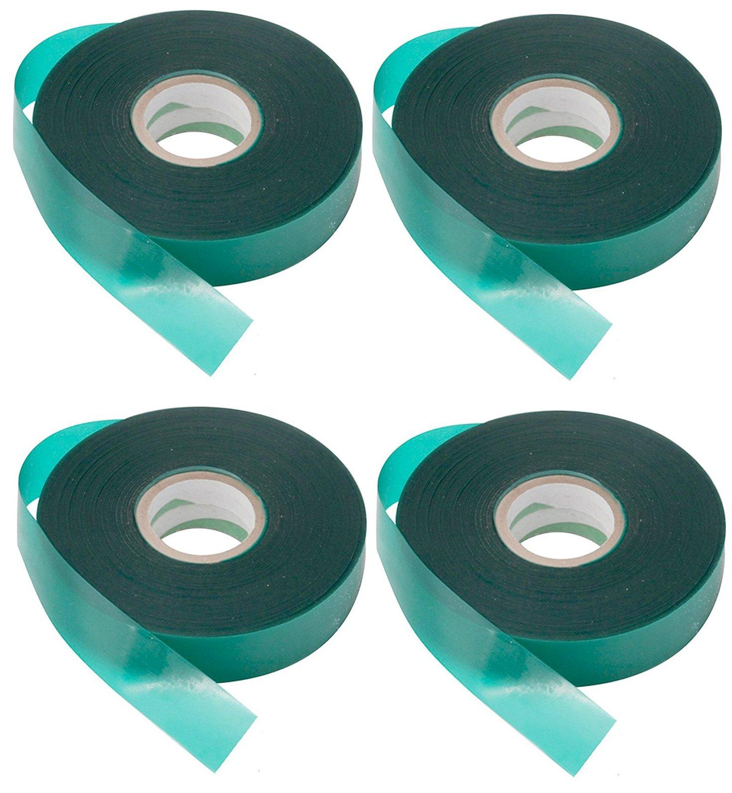 4 Rolls - Wide Tie Tape 150 FT x 1'' Heavy Duty 8 MIL, Stretch Plant Ribbon Garden Green Vinyl Stake