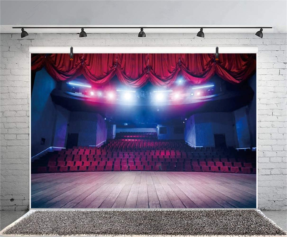 Vintage Theatre Interior Backdrop 7x5ft Polyester Bright Spotlights Red Valance Stage Wooden Floor Facing The Auditorium Photography Background Show Performance Shoot Banner Adult Child Portrait