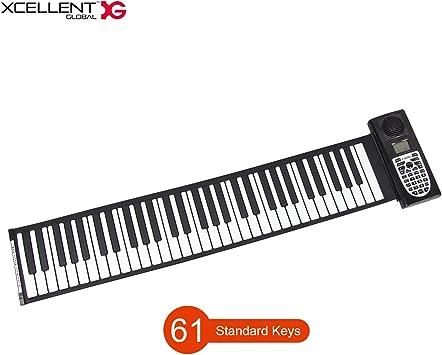 Xcellent Global Teclado Midi Portátil Plegable de 61 Teclas Piano Teclado Flexible de Silicona Suave 128 Tonos, Grabables, USB o Batería AV034
