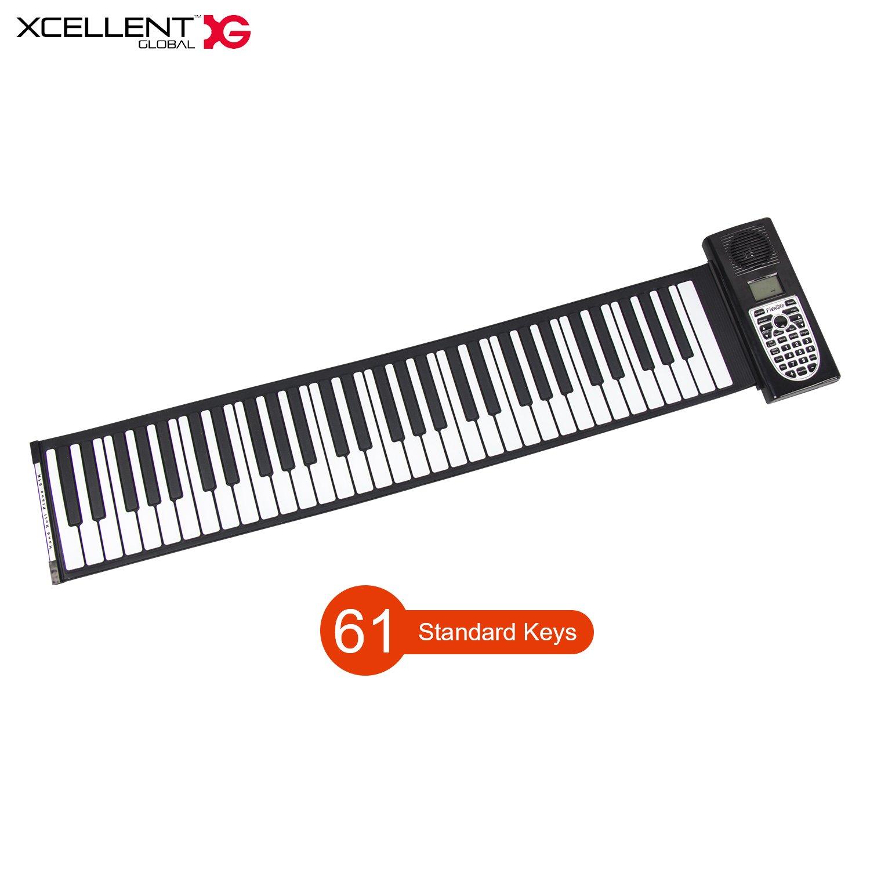 Xcellent Global Portable Foldable 61-Keys Piano MIDI Keyboard Flexible Soft Silicone 128 tones, Recordable, USB or Battery Power AV034