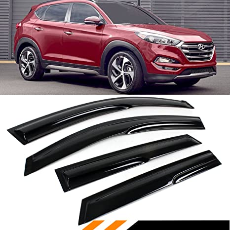 Cuztom Tuning For 2016 2017 2018 Hyundai Tucson 3d Wavy Smoke Rain Guard Vent Shade Window Visor Deflector