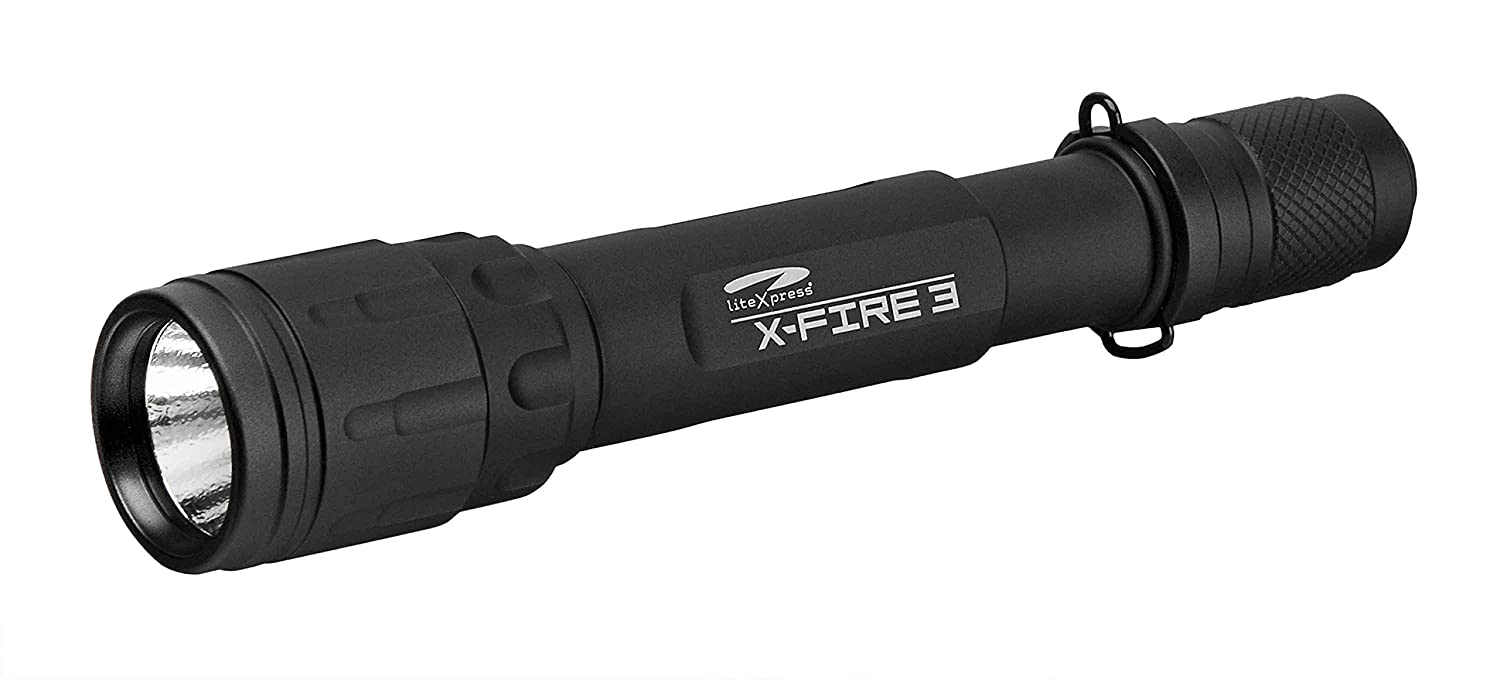 LiteXpress LXL001001 X-Fire 3 High Performance aluminium flashlight 2xAA LED up to 298 Lumens including cable switch picatinny rail mount