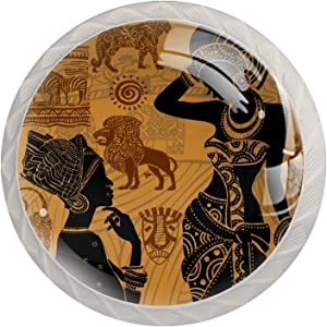 Idealiy African Woman Masks Ethnic African Animal Zebra and Leopard Door Drawer Pull Handle Furniture Decoration for Kitchen Cabinet Dressing Table