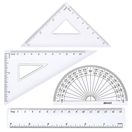 4 Pieces Math Geometry Tool Plastic Clear Ruler Sets, Protractor, Triangle