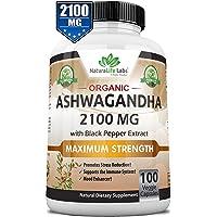Ashwagandha orgánico 2.100 mg – 100 cápsulas veganas extracto de raíz de Ashwagandha orgánico puro y polvo – Alivio natural de la ansiedad, mejorador de humor, apoyo inmunológico y tiroides, anti ansiedad