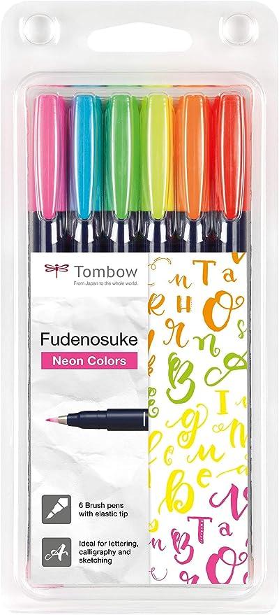 Tombow WS-BH-6P Fudenosuke - Juego de 6 rotuladores de punta dura, color neón: Amazon.es: Oficina y papelería