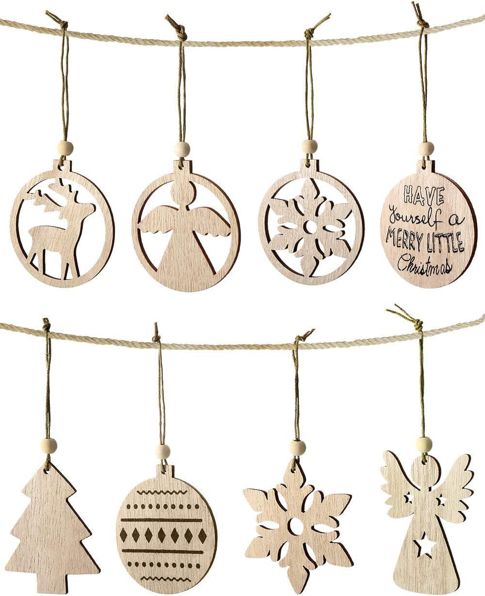 Aitsite Colgante Navideño de Madera 48 Piezas, Adornos árbol Navidad, Adornos de Madera de Navidad para Etiquetas de Regalo, Árbol de Navidad/Alce/Copos de Nieve/Ángel/Bola, 8 Formas