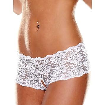Ann Devine Lingerie Culotte Panty Entrejambe Ouvert en Dentelle Blanc  Taille XL  Amazon.fr  Hygiène et Soins du corps 4ebaf4c2802