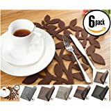 Dulce Cocina Placemats - Give Your Dinning Table A Personal Touch - 16.5 Inch Extra Large Felt Place Mats In Chocolate - Set of 6 Premium Bundle