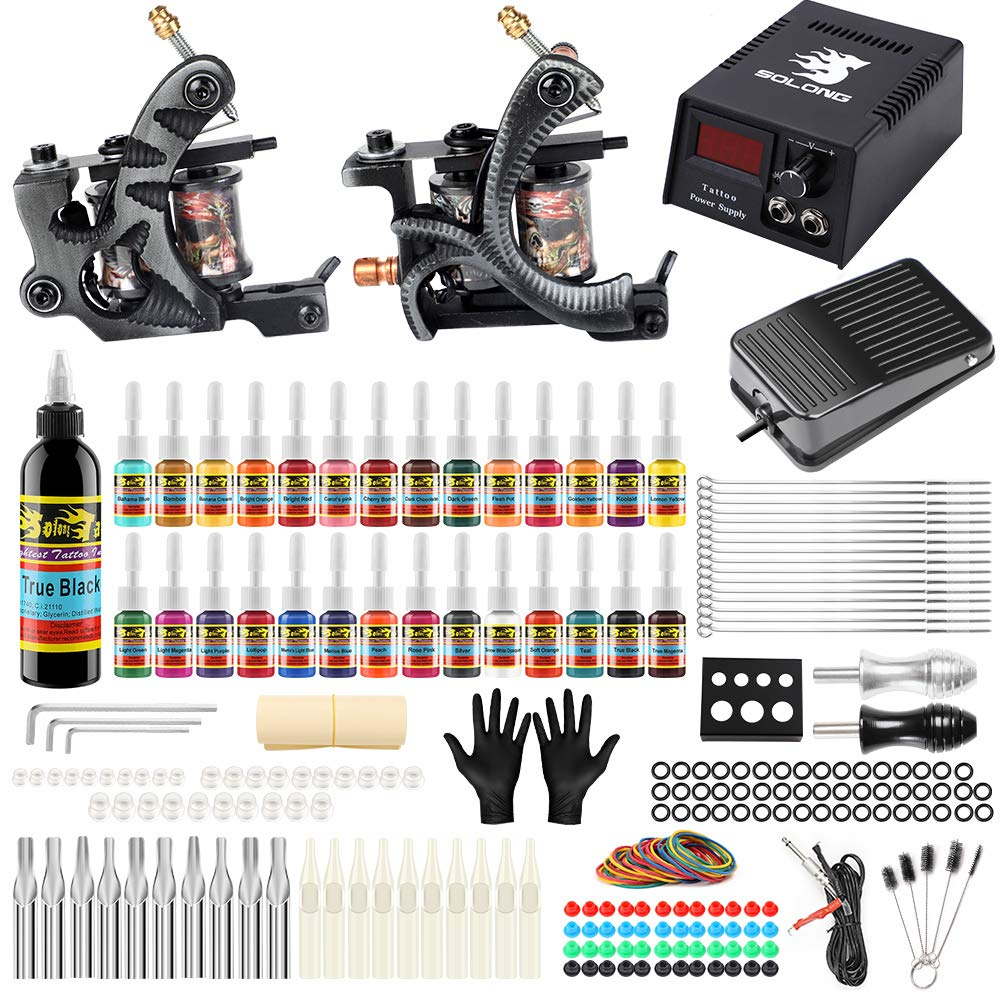 Solong Tattoo Kit for Beginners Tattoo Gun Kit 2 Pro Machine Tattoo Machine Kit Complete Tattoo Kit 28 Inks TK224