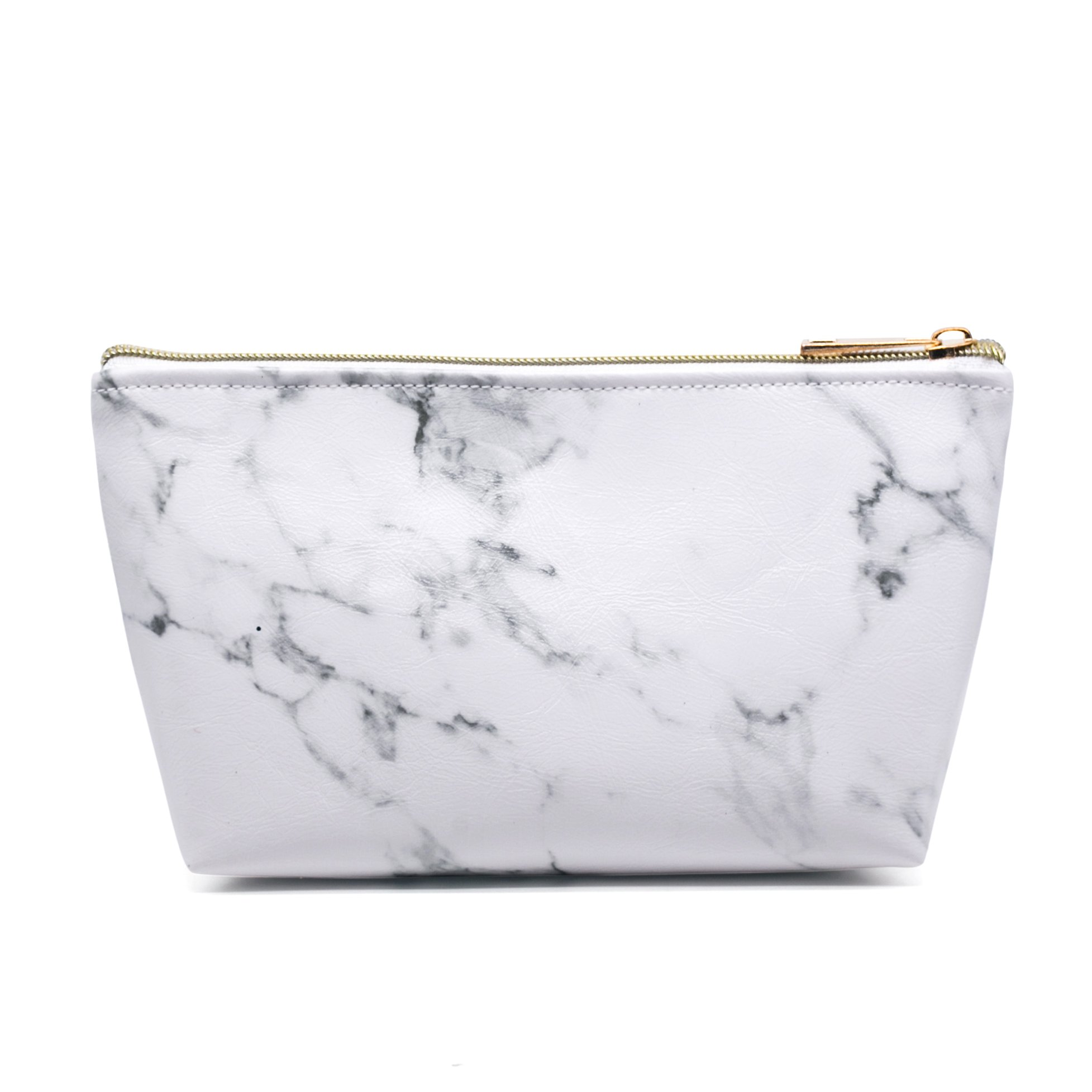 Marble Cosmetic Bag with Gold Zipper,Portable Ladies Travel Makeup Brushes Bag
