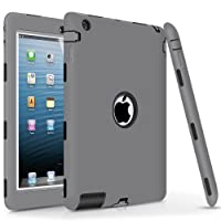 iPad 2 Case,ipad 4 Case,iPad 3 Case, DUEDUE Heavy Duty Rugged Shockproof & Drop Resistance Anti-Slip Soft Silicone Full Body Protective Case Cover for iPad 2nd/3rd/4th Generation,Gray/Black