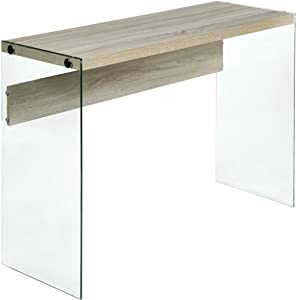 OneSpace Escher Skye Console Sofa Table, Wood and Clear Glass, Light Oak